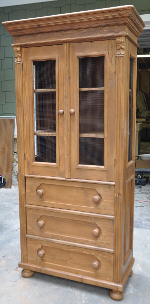 Small Pine Linen Press With Glass Panels. Skinny Storage Cabinet
