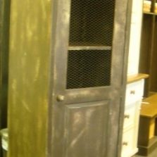 Skinny Storage Cabinet with Chicken Wire Door