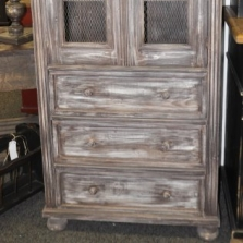 Small Pine Cabinet with Chicken Wire Door Panels