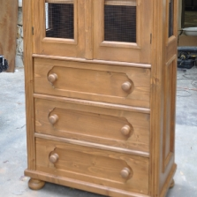 Small Pine Linen Press with Glass Panels