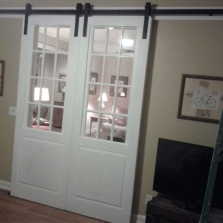 custom double barn door with 34 door glass transoms