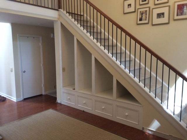 Custom Pine Built In Bookcase Under Staircase
