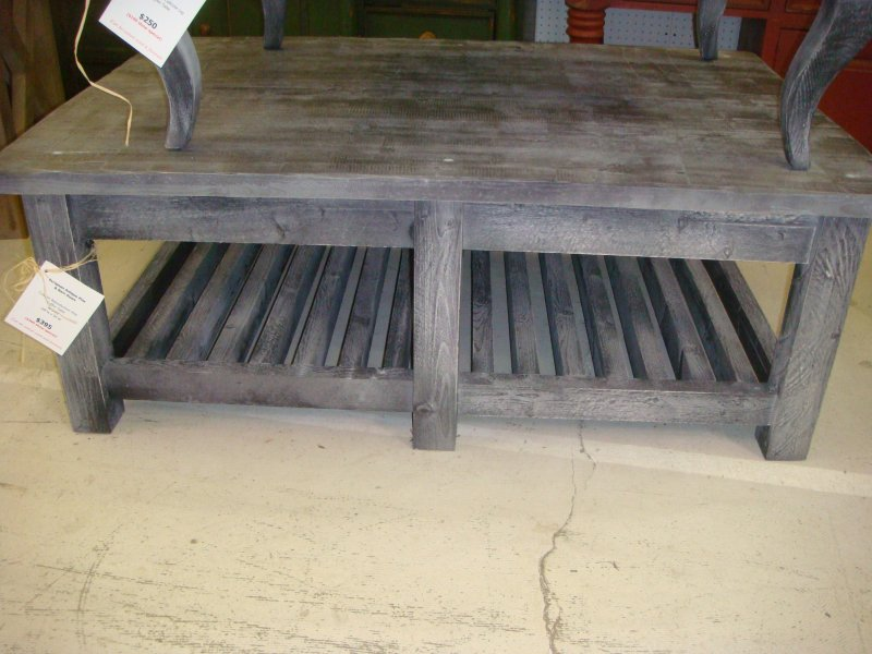 Charming Rustic Pine Coffee Table With Square Legs And Shelf