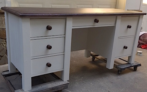Custom Pine Pedestal Desk W Straight Legs And Drop Down Center Drawer