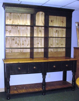 Custom Pine 2 Piece Hutch W/open Bookcase Top And Base