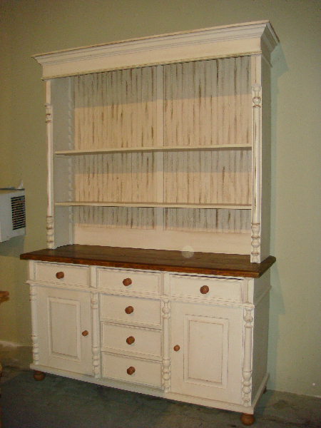 Custom Pine 2 Piece Hutch W/all Open Top And Rack Of Drawers