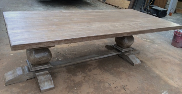 Custom Pine Double Pedestal W/ Hand Shaped Trestle Base Table