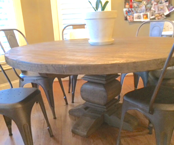 Custom Pine Round Table W/hand Shaped Pedestal